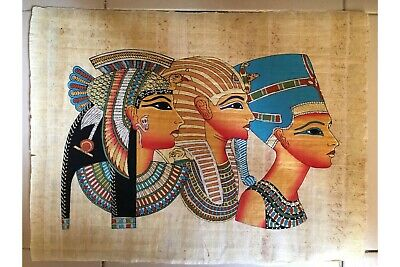 Tutankhamun, Cleopatra  and Nefertiti Papyrus Authentic Hand Painted Ancient EG