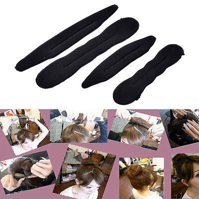 4x Magic Foam Sponge Hair Styling Clip Donut Bun Curler Maker Ring Tool  Bn