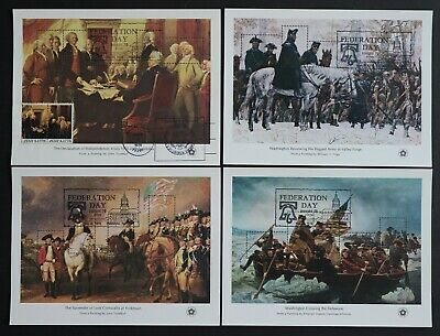 U.S. Used #1686 - 1689 Set of 4 Bicentennial Sheets. July 4, 1976 Cancels.