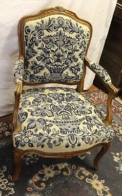 1920s Louis XV tyle armchair covered in blue material