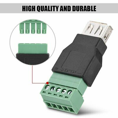 5Pin USB 2.0 Type A Female/Male to Screw Connector Terminal Plug  Connector AU