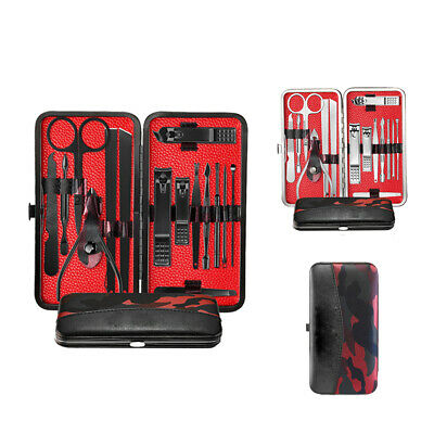 1Set Manicure Pedicure Stainless Nail Clippers Kit Set Cuticle Grooming Case