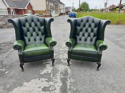 Pair Of Green Leather Chesterfield Wingback Armchairs