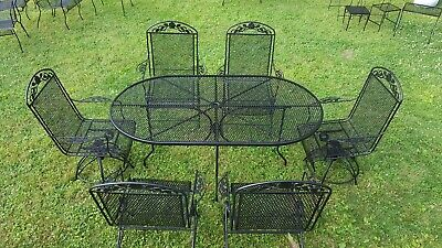 Meadowcraft Wrought Iron Patio Set Ornate Dogwood Design 6 Chairs Table Mcm