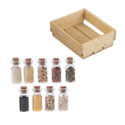 1/12 Scale Dollhouse Miniature Wooden Basket Glass Jar Kitchen Furniture