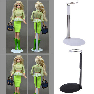 "2Pcs Plastic Base Adjustable Metal Holder Stand 5.1"" - 8.3"" for Doll Display"