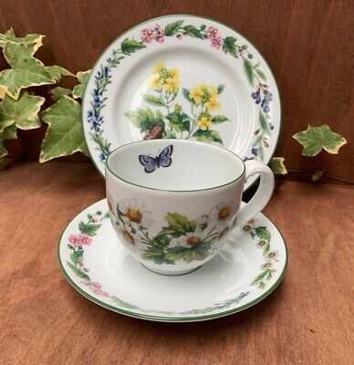 Royal Worcester Herbs Pattern Tea Trio, Tea cup saucer and side plate