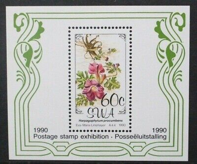 SOUTH WEST AFRICA SWA 1990 Postage Stamp Exhibition: Flowers. SOUVENIR SHEET MNH