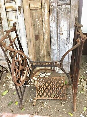 Pair Vintage Cast  Iron Industrial Metal Table  legs salvage steam punk