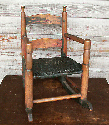 18th c Antique Child's Rocking Chair Piedmont NC Original Paint Patina Finials