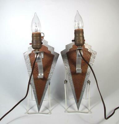 Art Deco PAIR Hammered Hand Forged Aluminum & Copper Lightning Bolt Sconces EXC!