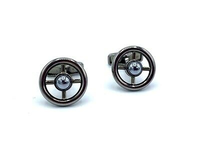 Dunhill JSJ0202 Sidecar Cat Eye Stone Black Steel Men's Cufflink's Gift