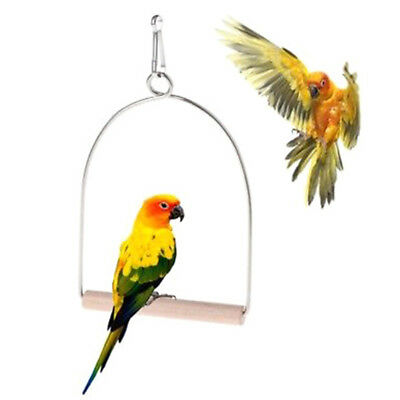 wooden natural birds perch parrots hanging swing cage toy stand holder pendant_S