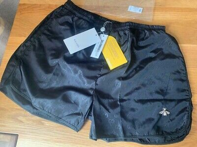 cefd2c18c2 Gucci GG Embroidered Gold Bee Swim Shorts Black £380 Size Small Selfridges  BNWT