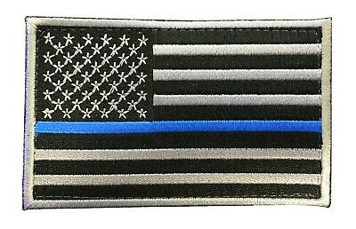 Subdued Thin Blue Line Flag Patch With HOOK/LOOP  VELCRO  BACKING.