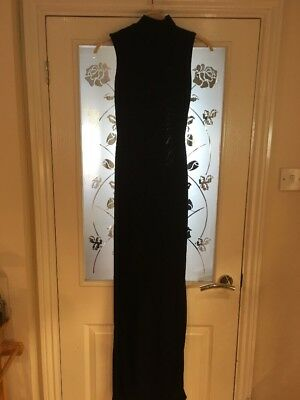 Ladies Clothes Size 6 Pretty Little Thing Black Slinky Dress Cut Out Maxi (68)