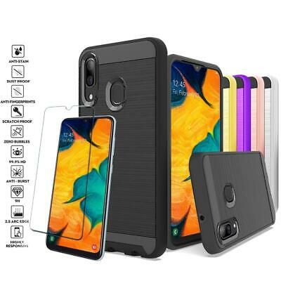 Samsung Galaxy A10/A30/A50 Shockproof Metal Brushed Hybrid Case+Screen Protector