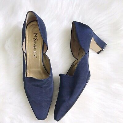 71ad6caff7 YVES SAINT LAURENT YSL Navy Blue D'Orsay Heels Size 10 Italy Vintage