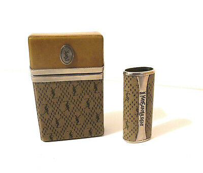 Yves Saint Laurent Vintage 70s Cigarette Case+ Lighter Box Portasigarette Rare