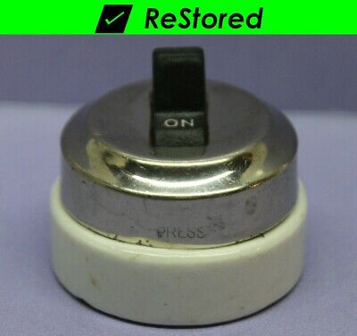 Vintage Toggle Switch - Single-Pole Round Chrome/Porcelain On/Off - Paulding