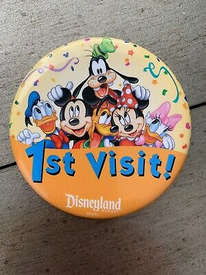 Disneyland 1ST VISIT! Disney Parks Button Pin Back Mickey Goofy