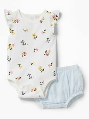 NWT Old Navy Floral Short Sleeve Bodysuit Striped Bloomers Outfit 2PC Baby Girl