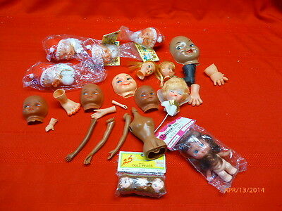 LOT OF 25 Vintage Craft Dolls Heads Hands Limbs Faces Mrs Claus Angle Crafting