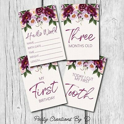 "Floral Plum Burgundy Pink Girl Baby Moments Milestones Cards Pack 4×6"" Photo"