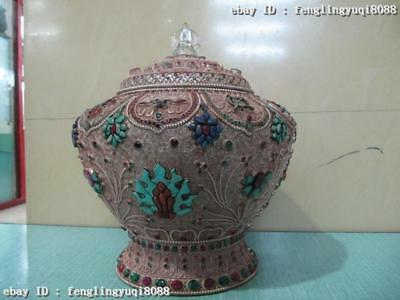 Nepal Royal Silver handwork inlay ruby beryl Turquoise Red coral Crock Pot Vase