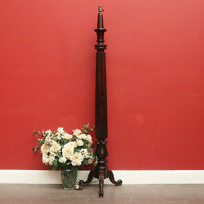 Antique English Mahogany Carved Pedestal Floor Standing Lamp Light with Shade