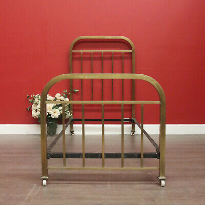 Antique French Brass Single Bed Frame with Side Rails and Porcelain Castors