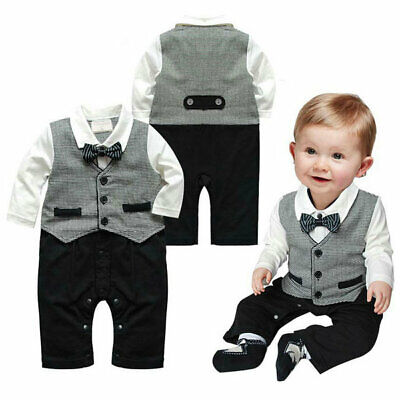 Baby Boy Gentleman Formal Suit Party Wedding Tuxedo Romper Jumpsuit Outfit 0-18M
