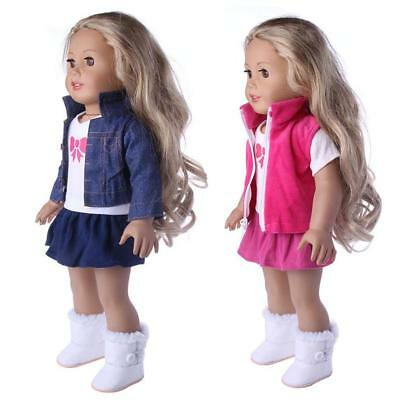 3pcs Girl Doll Clothes Dress Suit Set Top Skirt Coat for 18inch Girls Dolls#GD