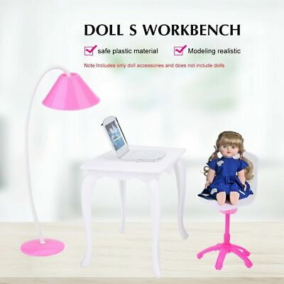 Doll Play House Doll Furniture Desk Lamp Laptop Chair Accessories Set sg#GD