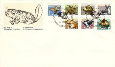 Canada #1155-1161 Mammals Definitives Combination First Day Cover