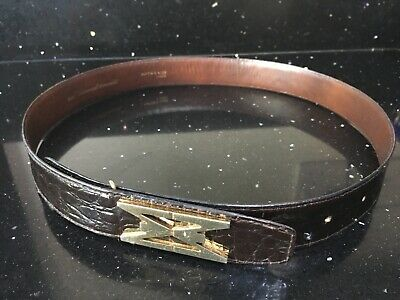 Rare Vintage Mappin and Webb London Brown Crocodile Belt size 10/12 herme style