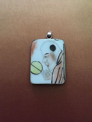 Antique Chinese Hand-Painted Porcelain Pendant on Sterling Silver