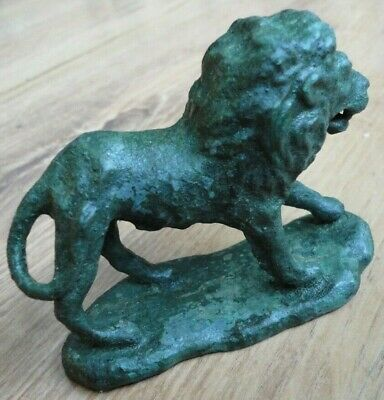Scarce Antique Ancient Roman Military Legionary Bronze Figurine statue LION
