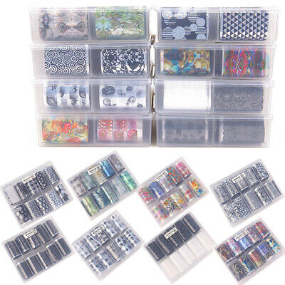 10xNail Foils-Mixed Nail Art Transfer Foil Wraps Decal Glitter Stickers Manicure