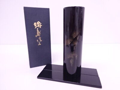 4187943: JAPANESE WAJIMA LACQUERED FLOWER VASE w/ STAND GOLD INLAY