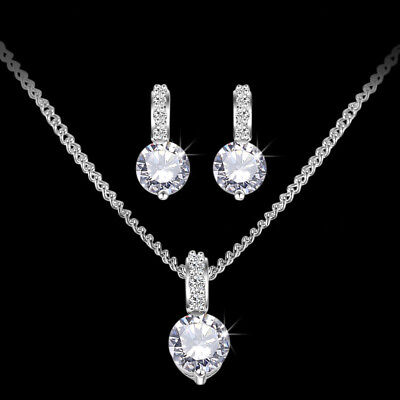 Silver Bridesmaid Crystal Necklace Earrings Set Wedding Bridal Jewellery Jewelry