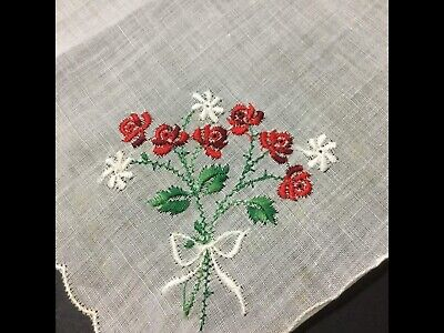 Vintage Swiss Handkerchief Embroidered ~ Red Rose Bouquet ~ Very Pretty Hanky