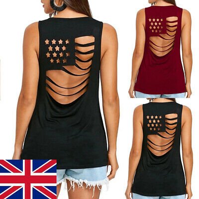 American Flag Back Hollow Out Sleeveless Top Tank Women Clothing Femal
