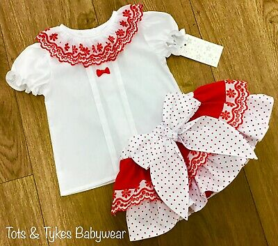 Girls Spanish style designer polka dot shorts set new with tags