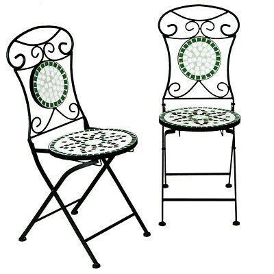 Woodside Set Of Two Decorative Mosaic Folding Garden Chairs Outdoor Furniture