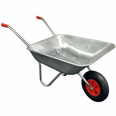 Heavy Duty Wheelbarrow 65l Litre Galvanised Steel Outdoor Wheel Barrow Pneumatic