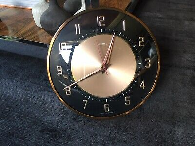 Vintage Metamec Black and Rose Gold Wall Clock with Kienzle Movement