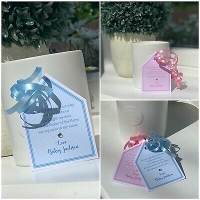 5 X Baby Shower Favour personalised tags Candle Tea light  labels