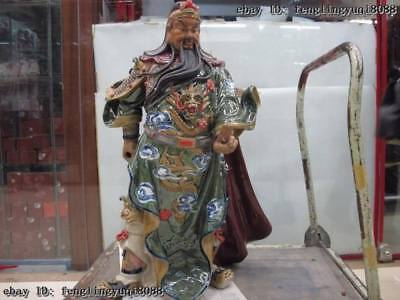 Chinese handwork pottery WuCai porcelain Guan Gong Guan Yu Warrior God Statue