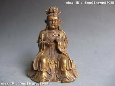 """7"""" Chinese Old Copper Bronze Carved emperor Queen Mother Buddha Statue"""